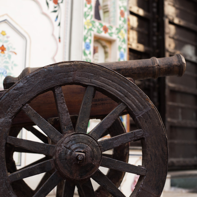 """""""Close-up of a cannon, Pushkar, Ajmer, Rajasthan, India"""" stock image"""
