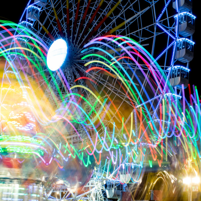 """""""Drawings of lights and fair ferris wheel background"""" stock image"""
