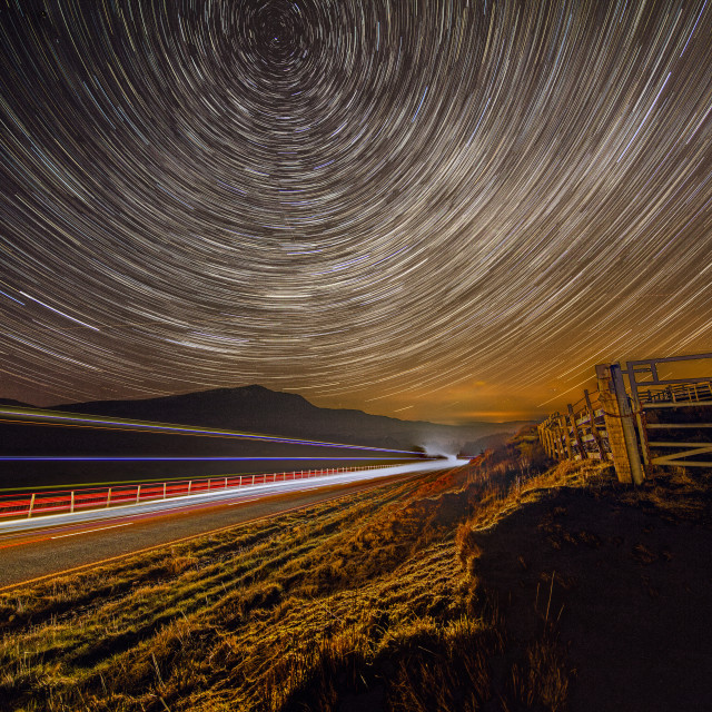 """Snowdonia Star Trails"" stock image"