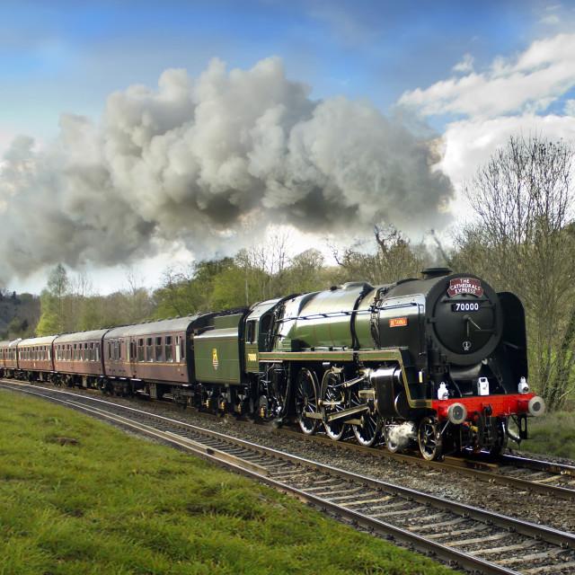 """""""BR Standard Class 7 70000 Britannia"""" stock image"""