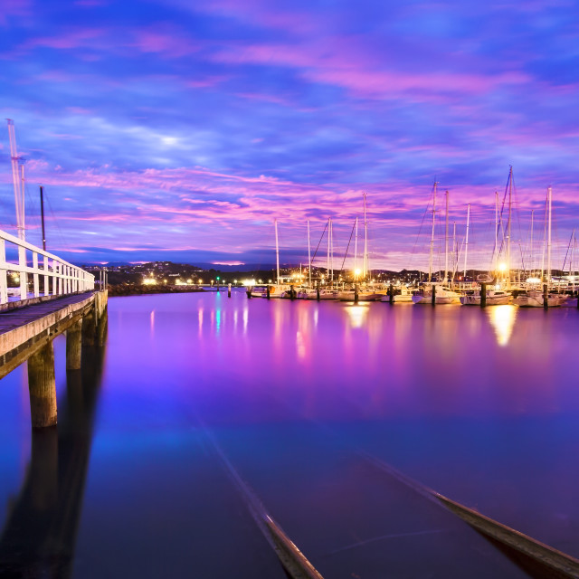 """Evans Bay Marina Dawn"" stock image"