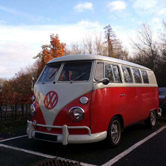 """Red VW Campervan"" stock image"