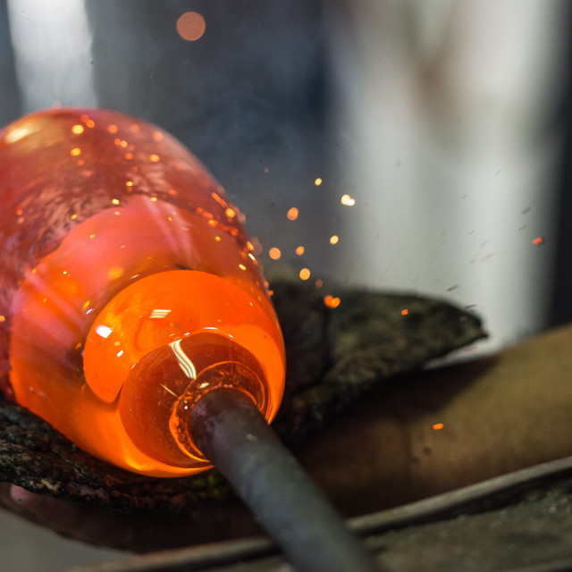 """Glass Blower, Glass, Blown Glass Manufacturing Plant"" stock image"