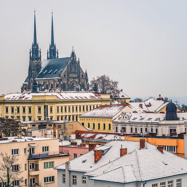 """View to Cathedral of St. Peter and Paul in Brno in winter time"" stock image"