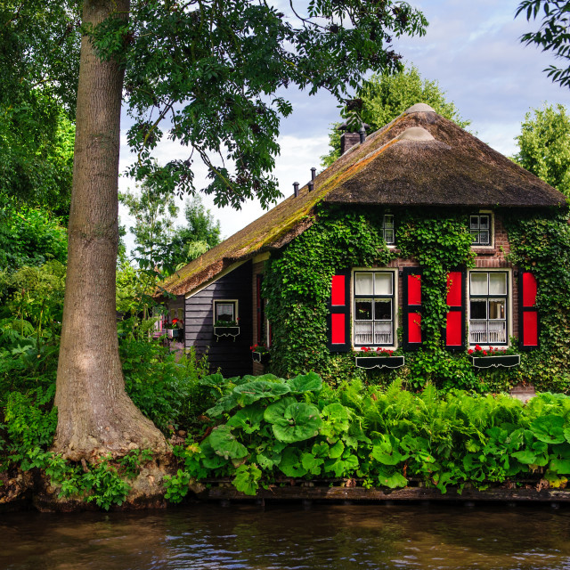 """Beautiful cottage in Giethoorn"" stock image"