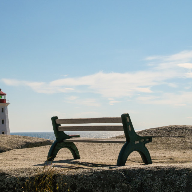 """Bench at Peggy´s Cove"" stock image"
