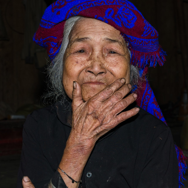 """VIETNAM . woman from the Red Dao Ethnic Minority People in Lac Man, Vietnam. Red Dao Minority are the 9th largest ethnic group in Vietnam"" stock image"