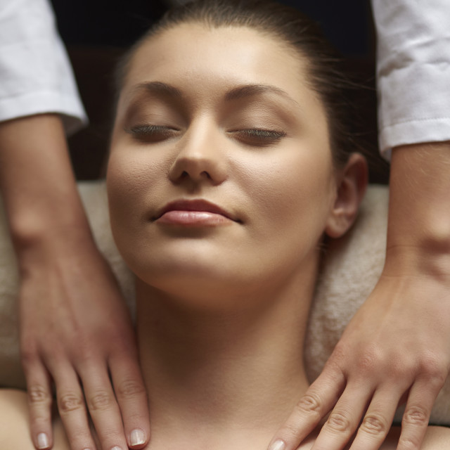 """Natural woman pampered at spa"" stock image"