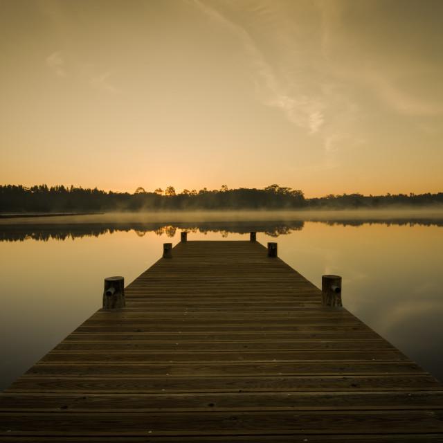 """""""Sunrise on lake"""" stock image"""