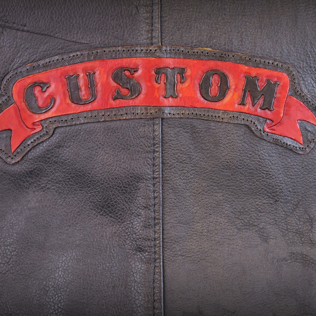 """Custom label on leather fabric"" stock image"