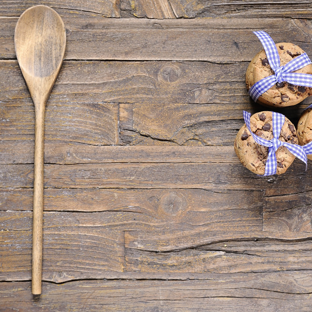 """""""Three stacks of delicious chocolate chip cookies"""" stock image"""