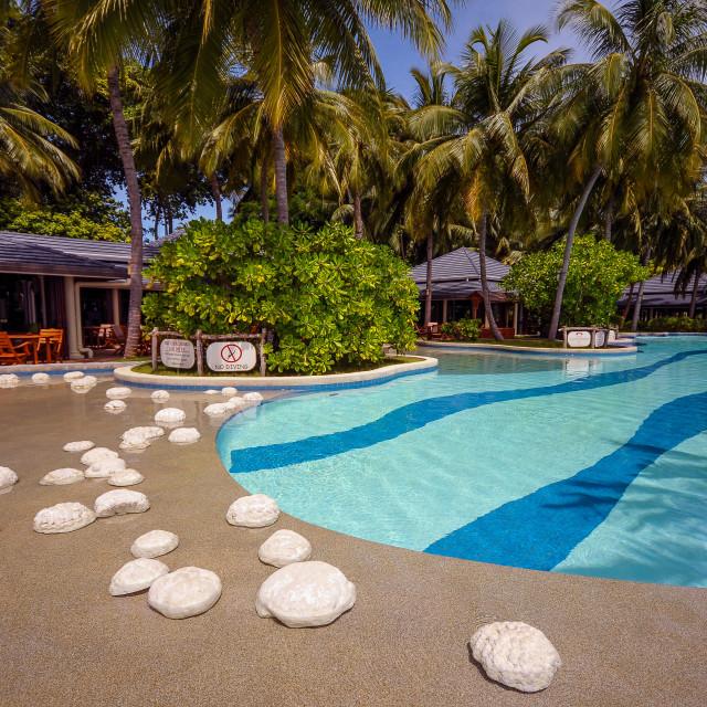 """""""Maldivian resort pool side"""" stock image"""