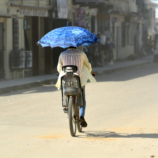 """Blue umbrella"" stock image"