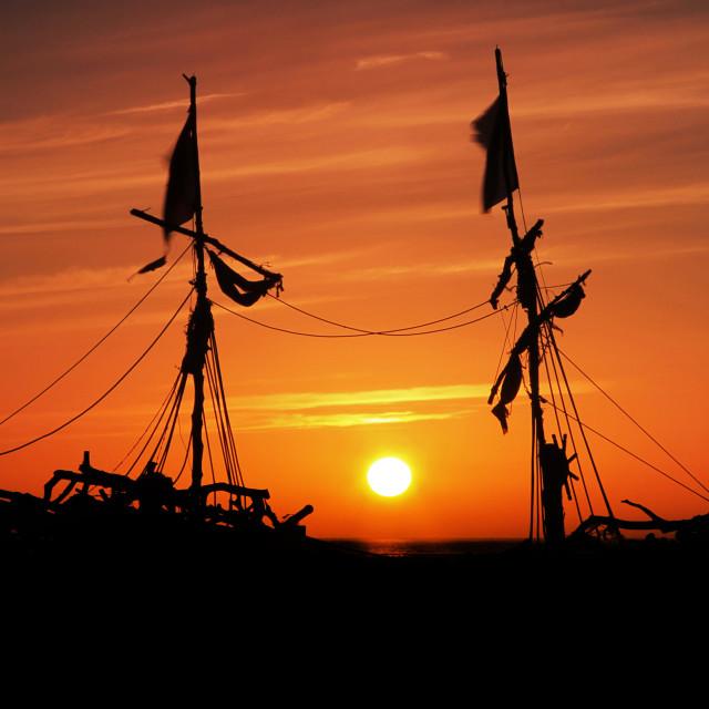 """Pirate Ship Sunset"" stock image"