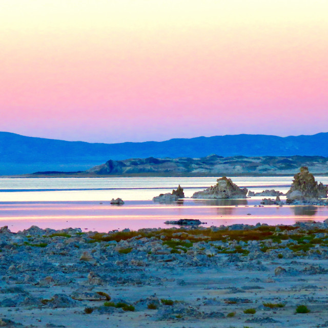 """Mono Lake at sunset"" stock image"