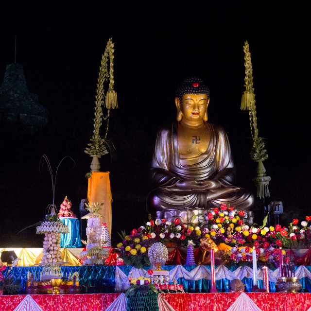 """Golden Buddha, Borobudur"" stock image"