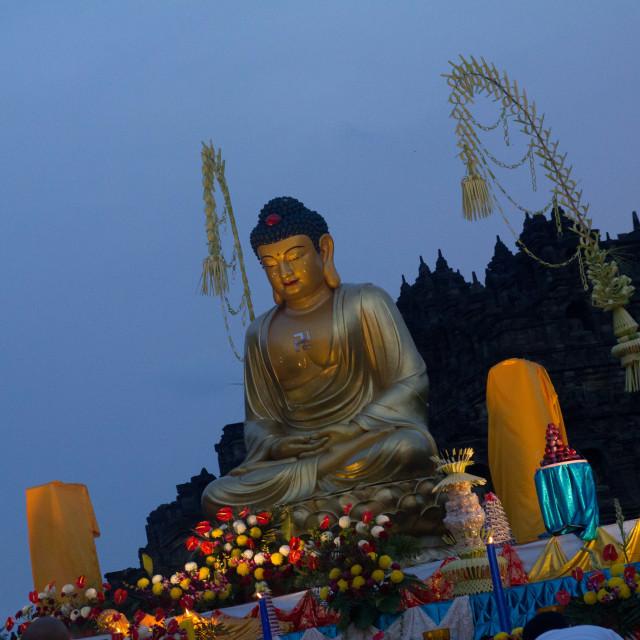 """Buddha, Borobudur, Twilight"" stock image"