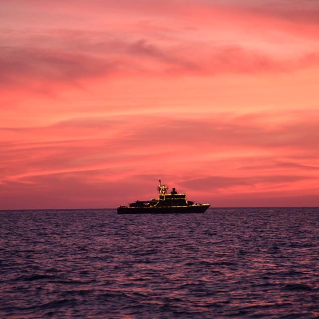 """Silhouette battleship"" stock image"