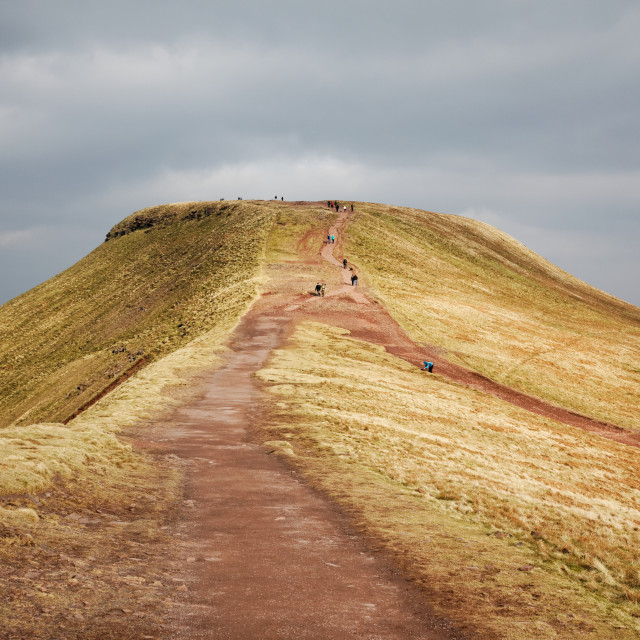 """""""Trail to Summit of Pen-y-Fan, Brecon Beacons"""" stock image"""