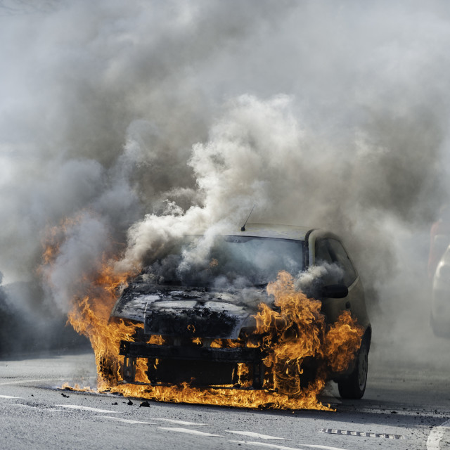 """""""Car Fire, Machynlleth, Powys, West Wales Friday 18th March 2016"""" stock image"""