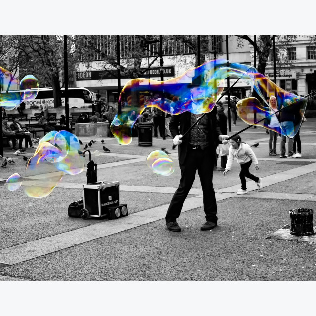 """The Bubble Master - Marble Arch - Colour Pop"" stock image"