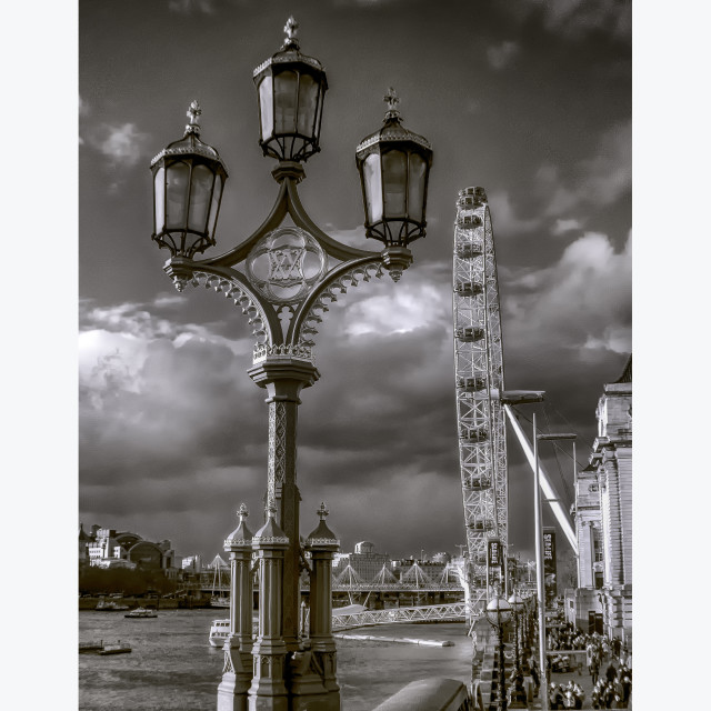 """Ornate Westminster Bridge Street Lamp With London Eye View"" stock image"