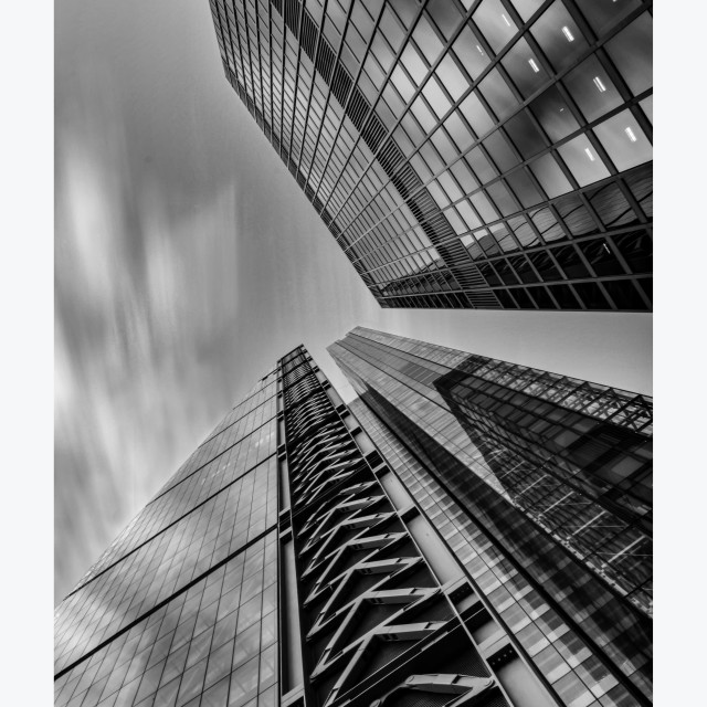 """Long Exposure City Buildings Black and White"" stock image"