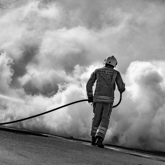 """Car Fire, Machynlleth, Powys, West Wales Friday 18th March 2016"" stock image"