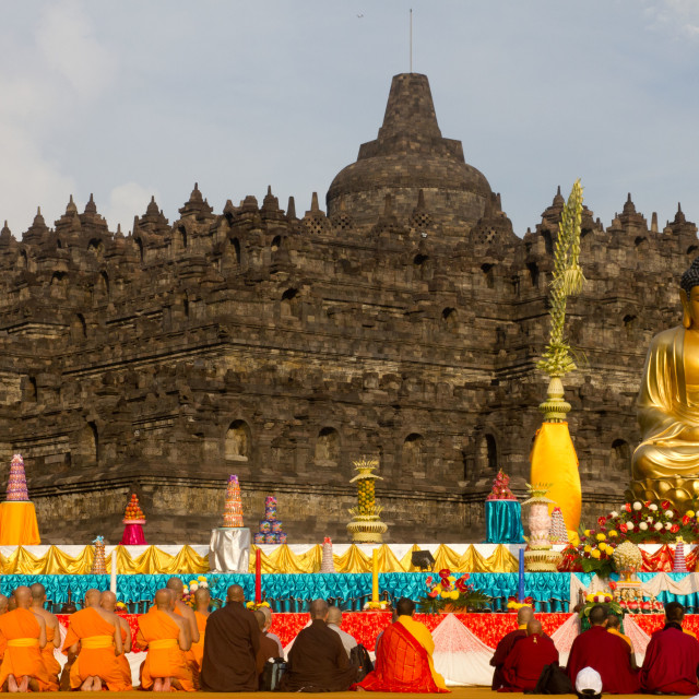 """Worship at Borobudur"" stock image"
