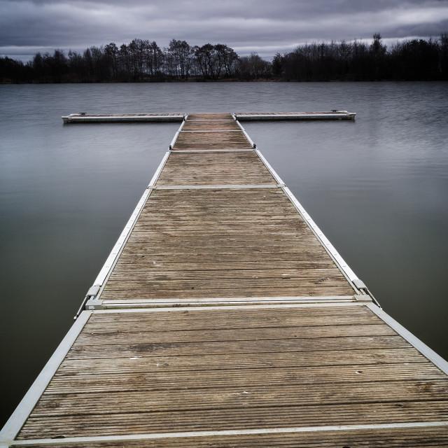 """Allerthorpe lake Jetty"" stock image"