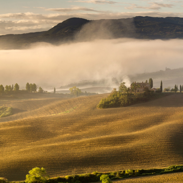 """Valley Val D'orcia,tuscany Morning, Foggy Rural View"" stock image"