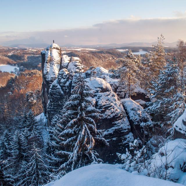 """Beautiful rocks of the Saxon Switzerland in winter"" stock image"