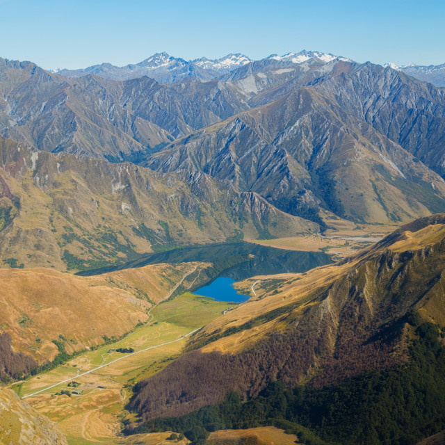 """Queenstown New Zealand from above"" stock image"