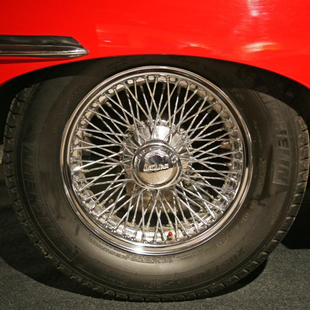 """Jaguar E Type Ser 2,1969.,wheel, Expo at Tech museum Zagreb,2016."" stock image"