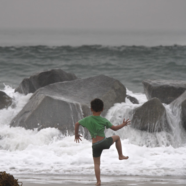 """""""Boy At The Beach"""" stock image"""
