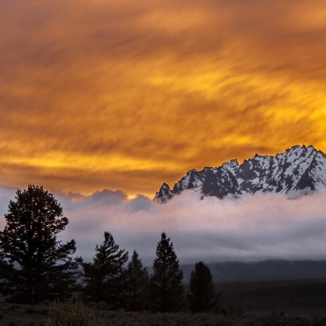 """Teton Sunset"" stock image"