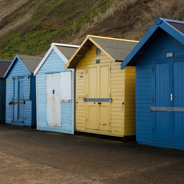 """Closed season beach huts"" stock image"