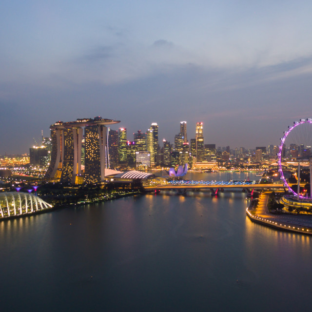"""aerial view of sunset scene at Marina Bay."" stock image"