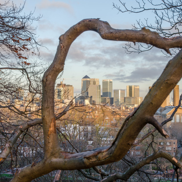 """Canary Wharf framed"" stock image"
