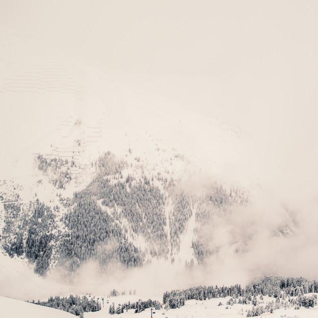"""""""Misty Winter Mountain"""" stock image"""