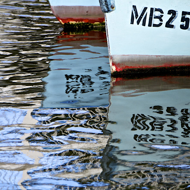 """""""Boat Reflections in the Habour"""" stock image"""