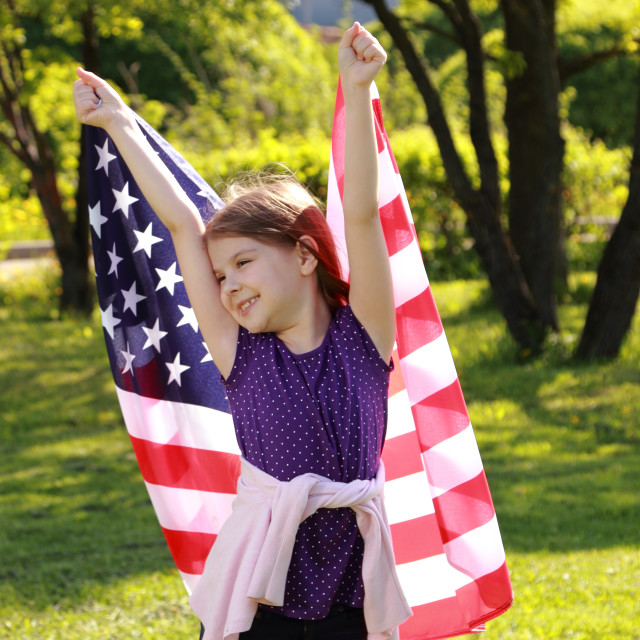 """""""little girl with American flag"""" stock image"""