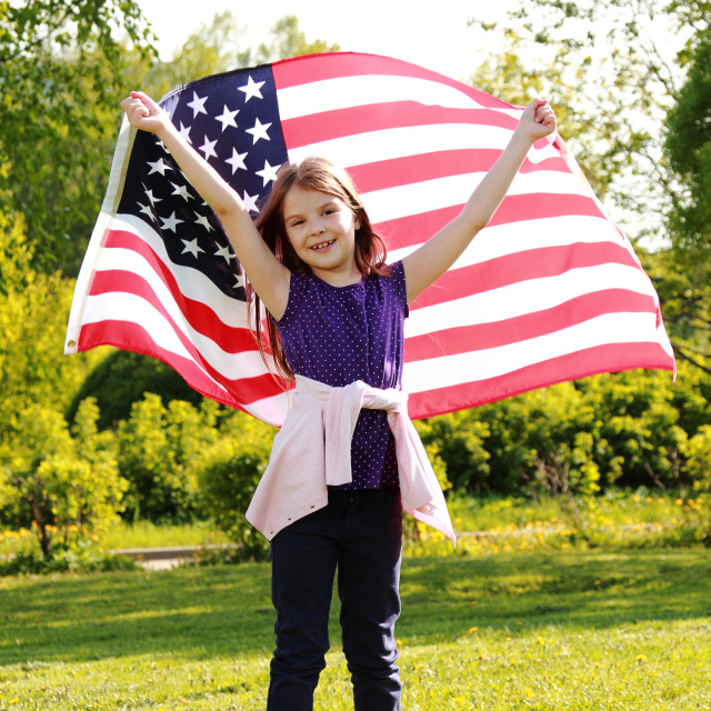 """little girl with American flag"" stock image"