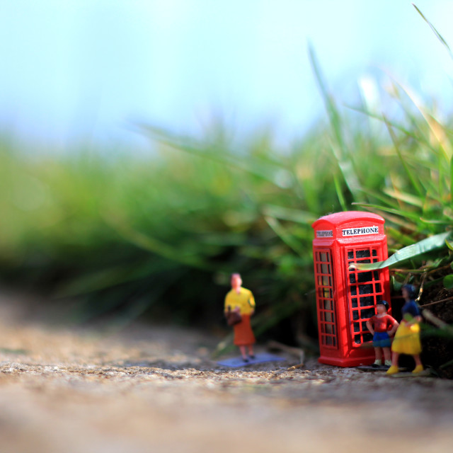 """Miniature Phonebox and People"" stock image"