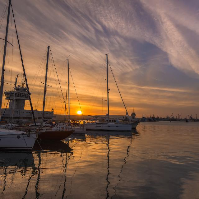 """Yacht harbor at sunset"" stock image"