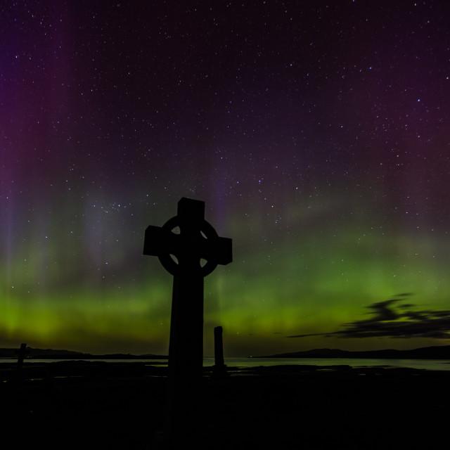 """Aurora borealis at Ashaig, Isle of Skye"" stock image"