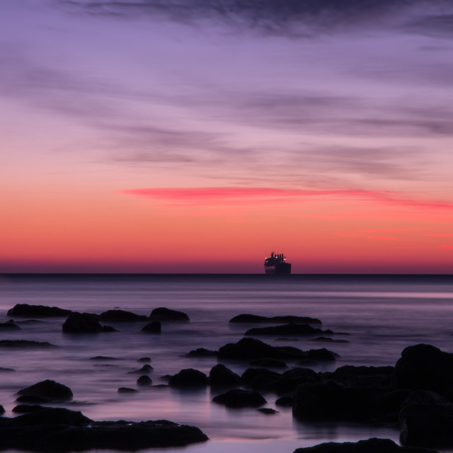 """seascape before sunrise"" stock image"