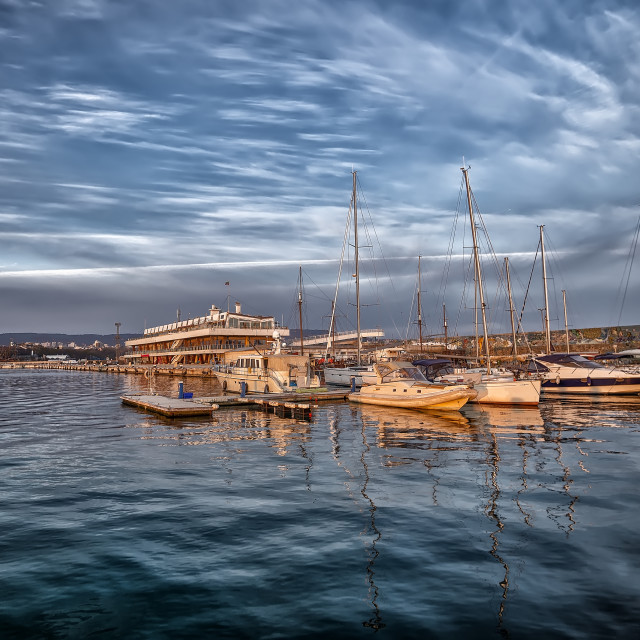 """""""Yachts and boats in the harbor."""" stock image"""