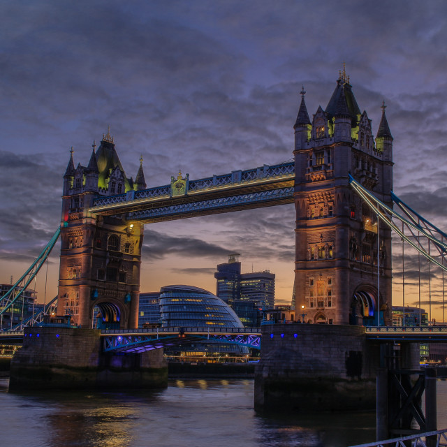 """Tower Bridge, London, at sunset."" stock image"