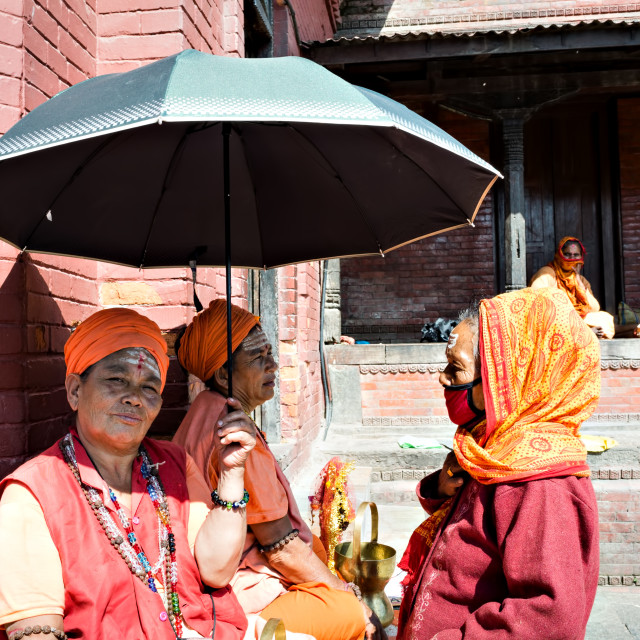 """Holy Women of Pashupatinath"" stock image"